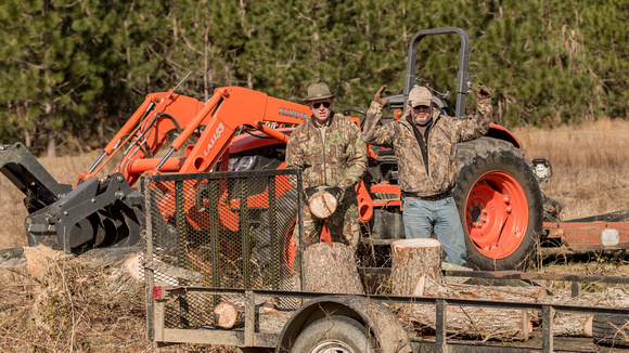 Cutting pecan wood at the farm