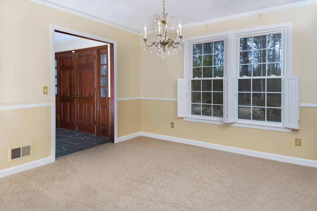 Dining Room. Slate floor in Foyer with double doors